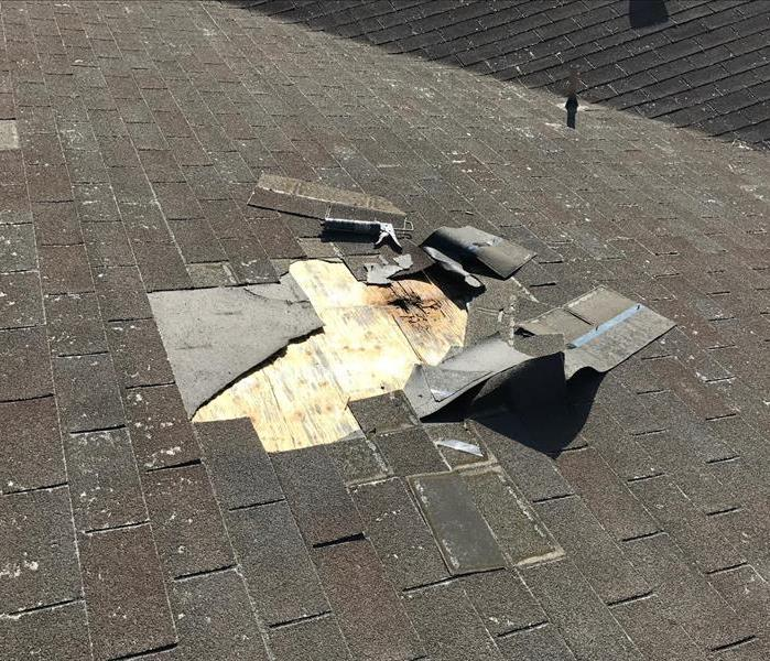 Wind damage to aging roof uncovers water damage to roof structure